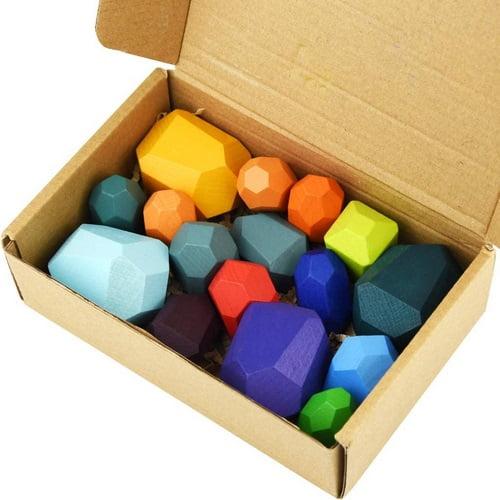 Extrokids Wooden Rainbow Colour Stacking With Buliding Stones - EK1717