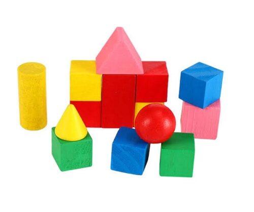 Extrokids Wooden Kids Mini Building Blocks Toys Set Coloured Blocks - EK1724