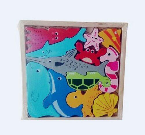 Extrokids Wooden Montessori Learning Sea Animal Stacking - EK1753
