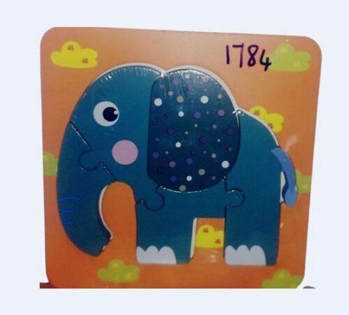 Extrokids Wooden Montessori Learning 3D Elephant Puzzle - EK1784