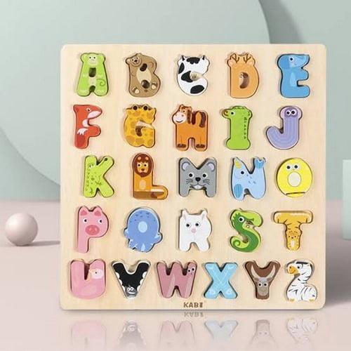 Extrokids Wooden Montessori Learning Base Board Animal Alphabet - EK1812