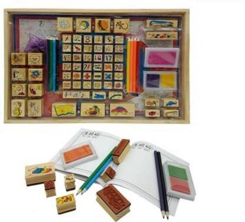 Extrokids Wooden Early Learning Stamp Art Toy with 26 Number and Picture Stamp, Storage Box and Washable Inks for Kids  (Multicolor) - EKR0002