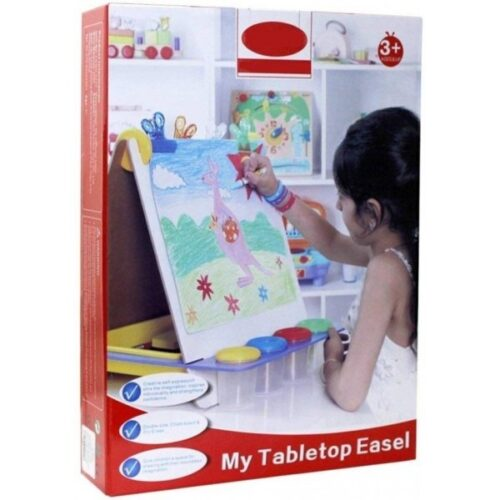 Extrokids Wooden Multifunctional Double Sided Tabletop Easel Board for Drawing Writing and Painting - EKR0006