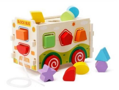 Extrokids Montessori Learning Wooden Bus with shapes Blocks - EKR0007