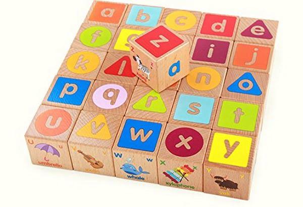 Extrokids Wooden Baby Educational ABC Alphabet Letter Combination Learning Building Blocks - EKR0014