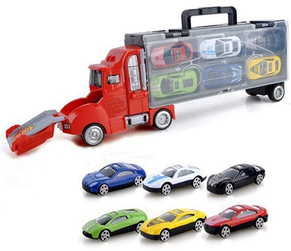 Extrokids Fun and Racing Plastic Storage Truck With Sliding Cars And Accessories Carrying Case - EKR0030