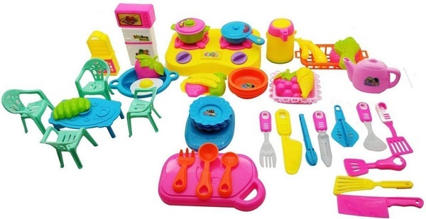 Extrokids Little Chef Cookware Pretend Kitchen Play Set Toy for Kids Accessories for Kids and Girls (50 Pcs) - EKR0042