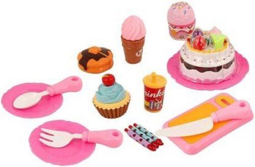 Extrokids Pretend Play Birthday Cake Toy Set with Dessert Ice Cream, Doughnut, Muffin - EKR0050