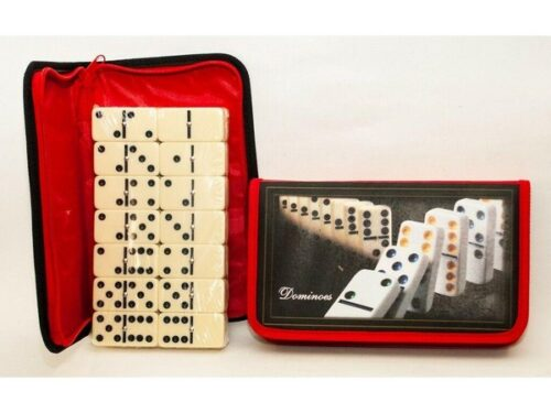 Extrokids Fun Double Six Dot Dominoes Set of 28 for 2 - 4 Players with Carry Pouch Bag - EKR0054