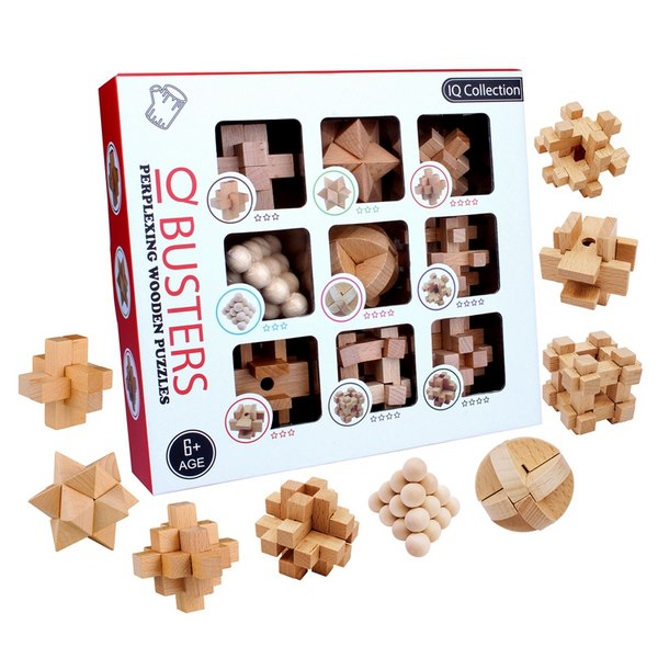 Extrokids Wooden Perplexing IQ brain buster  9PCS/Set Intelligence 3D Wooden Brain  IQ Puzzle Toy - EKR0059
