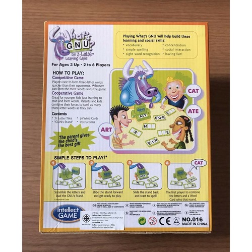 Extrokids Montessori 3 Letter Learning Game Whats GNU - EKR0075