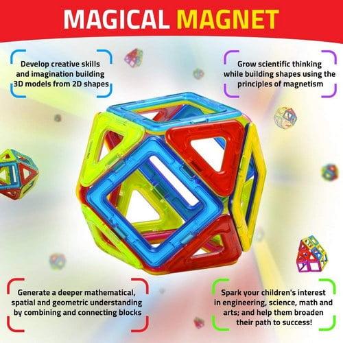 Extrokids Montessori Brain Development 52 PCS Mag Magical Magnetic Building Blocks 3D Magic Play Stacking Set - EKR0081