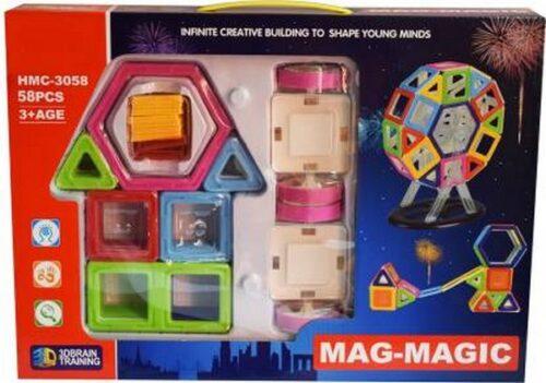 Extrokids Montessori 58 Pcs 3D Magnetic Building Blocks Creativity Brain Development Learning Toy - EKR0082