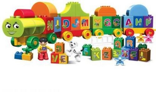Extrokids Montessori Learning Alphabet Train Building Blocks Learning Letters,Words and Spelling Early Educational Block Game - EKR0101