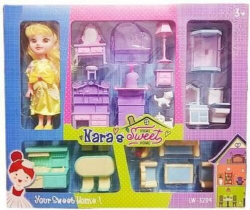 Extrokids Pretend Play Nara Sweet Home Doll House Toy Set With Home Accessories - EKR0120
