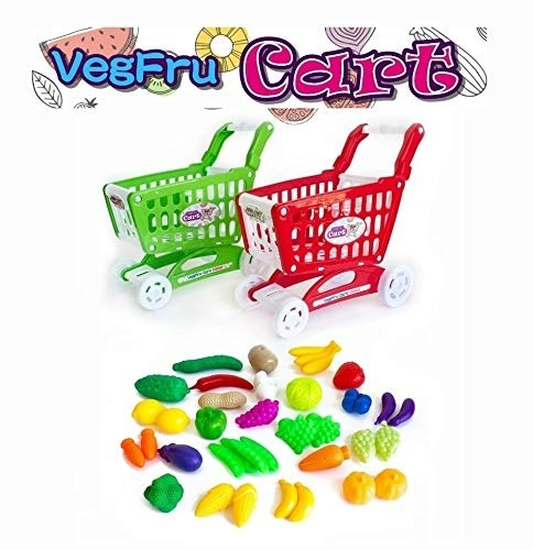 Extrokids Montessori Learning Realistic Fruits and Vegetable Play Toy Set with Shopping Cart - EKR0137