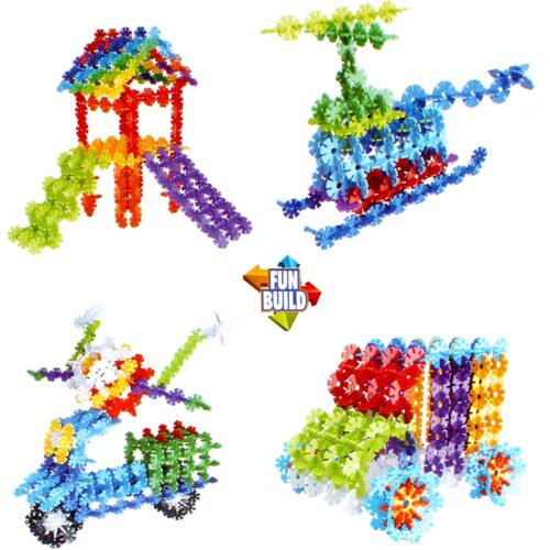 Extrokids Plastic Building Snowflake Shape Blocks Toys, Multicolour - EKR0209