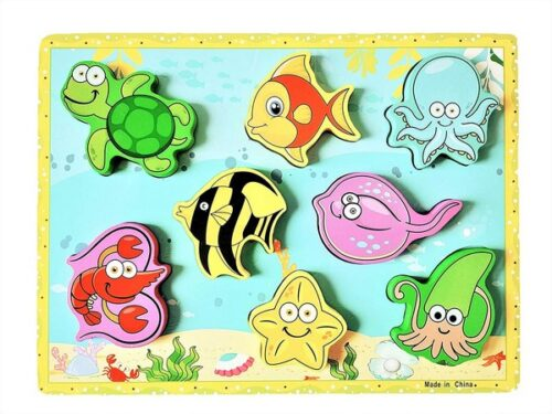 Extrokids Montessori Learning Wooden Puzzle Sea Animals - EKR0214