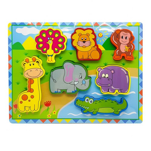 Extrokids Montessori Learning Wooden Puzzle Wild Animals - EKR0215