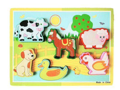 Extrokids Montessori Learning Wooden Puzzle Farm Animals - EKR0216