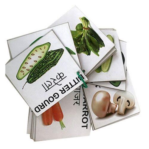 Extrokids Wooden Vegetables Flash Card- Set of 24 Cards - EKW0001B