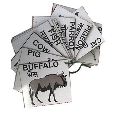 Extrokids Wooden Domestic Animals Flash Card- Set of 24 Cards - EKW0001D