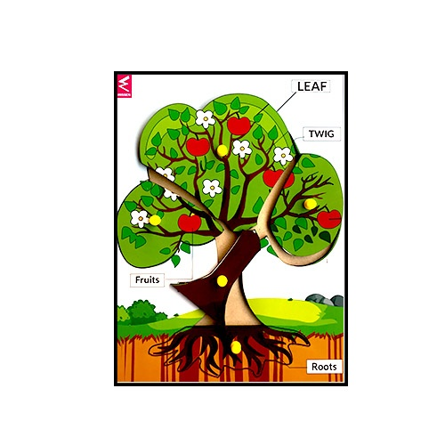 Extrokids Wooden Tree Parts Learning Puzzle Peg Board - 12*9 inch - EKW0010