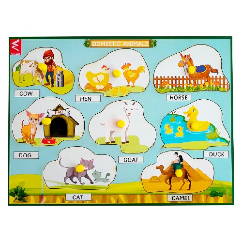 Extrokids Domestic Animals Learning Peg Board Puzzle 12*9 inch  -  EKW0019