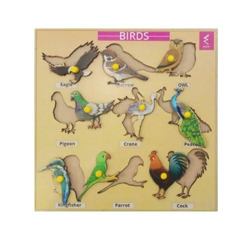 Extrokids Wooden Birds Learning Educational Knob tray-12*18 inch - EKW0032