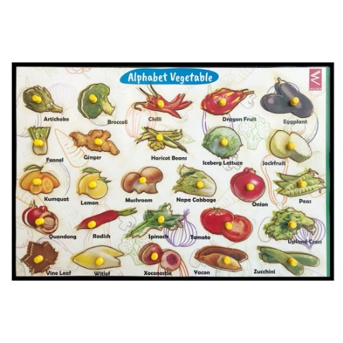 Extrokids Wooden Vegetables from A-Z Educational Knob Tray - EKW0035