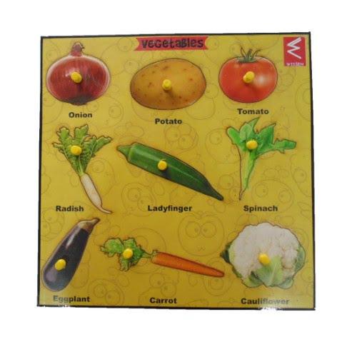 Extrokids Wooden Vegetable Learning Educational Knob Tray - EKW0036