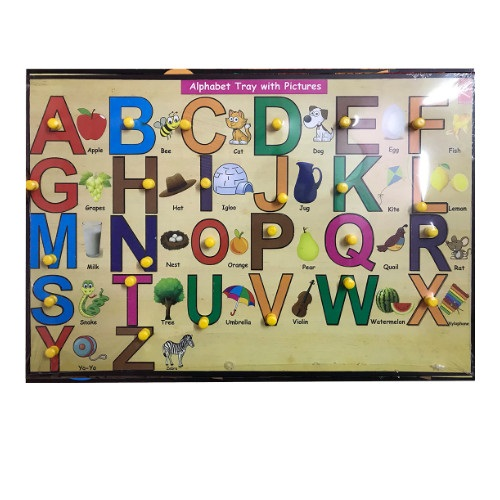Extrokids Wooden Capital Alphabet Learning Educational Knob Tray -12*12 inch - EKW0041