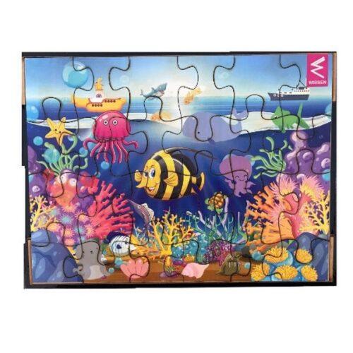 Extrokids Wooden Jigsaw puzzle -12*9 inch- Under Sea theme - EKW0061B