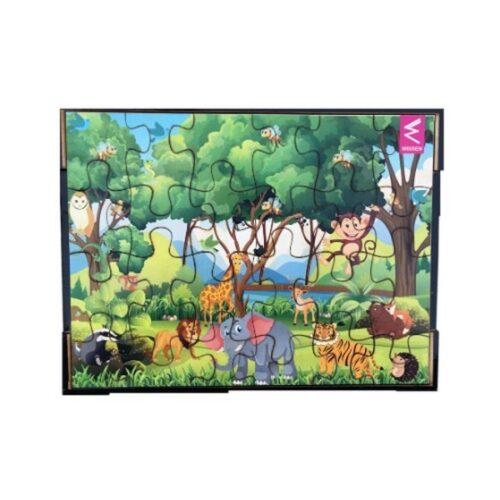Extrokids Wooden Jigsaw puzzle -12*9 inch-Jungle Theme - EKW0061C