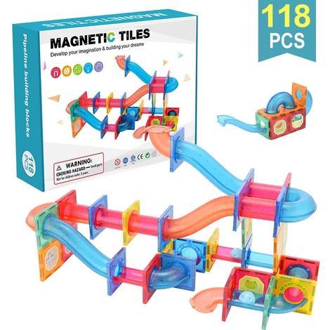 Extrokids Magnetic Tiles Pipeline Building Blocks 118 Pcs - EKT1845
