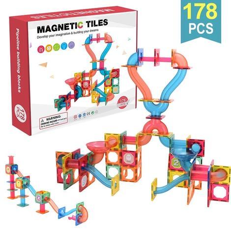 Extrokids Magnetic Tiles Pipeline Building Blocks 178 Pcs - EKT1846