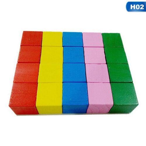 Extrokids First Basic Block Set - 12 Colorful Wooden Cubes - EKT1847
