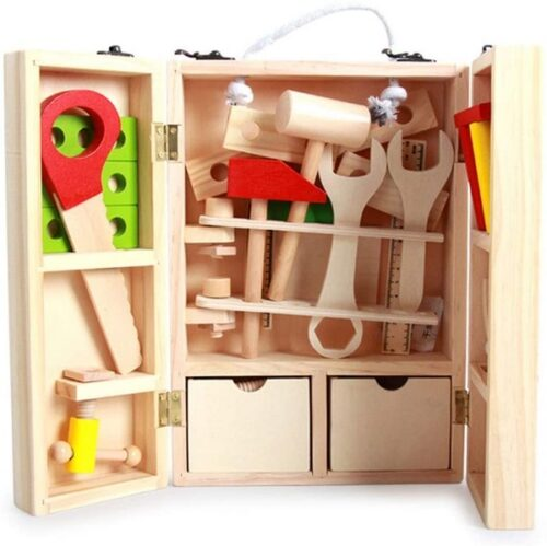 Extrokids Wooden Toy Simulation Disassembly Toolbox Play House Toy - EKT1855