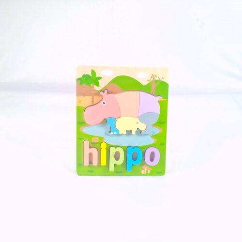 Extrokids 3d Wooden Puzzle Board - Hippo - EKT1862