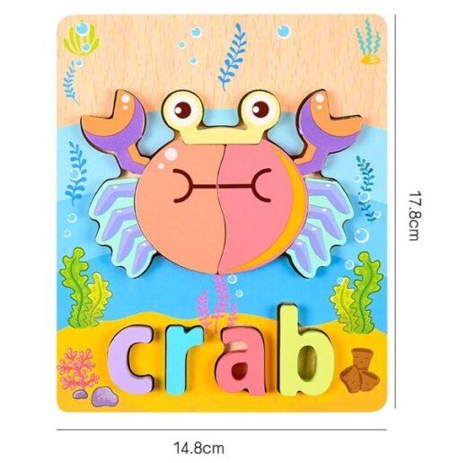 Extrokids 3d Wooden Puzzle Board - Crab - EKT1863