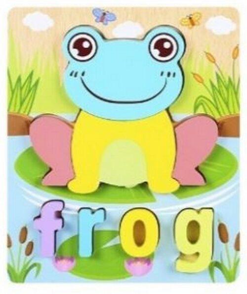 Extrokids 3d Wooden Puzzle Board - Frog - EKT1867