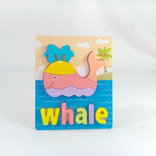 Extrokids 3d Wooden Puzzle Board - Whale - EKT1869