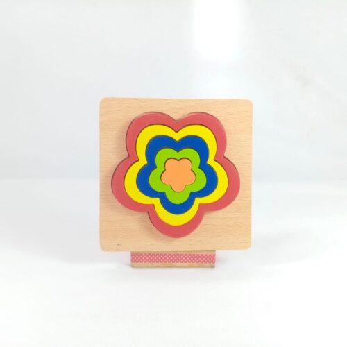 Extrokids DIY CREATIVE 3D WOODEN PUZZLE GEOMETRY SHAPE PUZZLE  EDUCATIONAL TOYS (FLOWER) - EKT1875