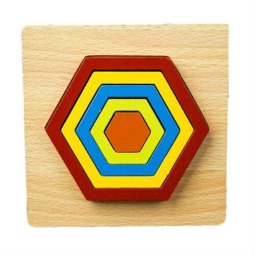 Extrokids DIY CREATIVE 3D WOODEN PUZZLE GEOMETRY SHAPE PUZZLE  EDUCATIONAL TOYS (HEXAGON) - EKT1877