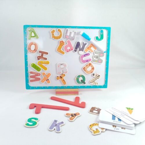 Extrokids Wooden with Magnetic Alphbet Board Tray Toy - EKT1881