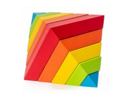 Extrokids Montessori style pyramid - 3D rainbow game to build