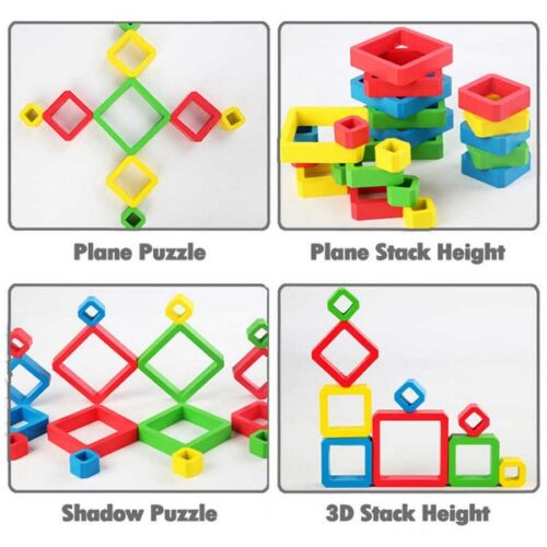 Extrokids Wooden Stacking Rainbow Pyramid Building Blocks Toys - EKT1887