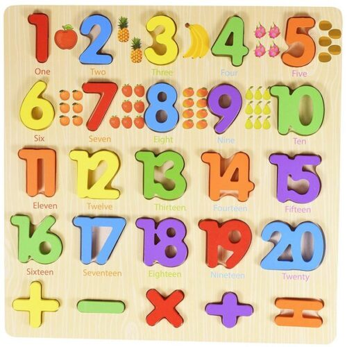 Extrokids 3D Wooden Number Puzzles with Pictures for Children Educational Learning Board Toy - EKT1889