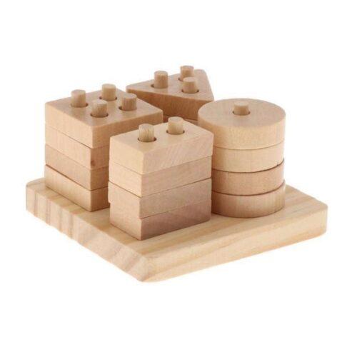 Extrokids Wooden Geometry Block Game Toy Four Pillars - EKT1896D