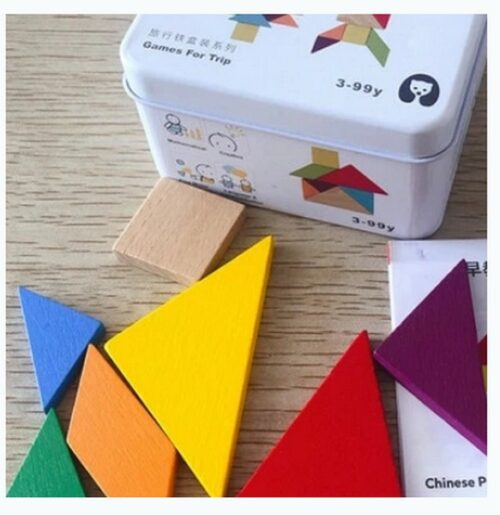 Extrokids Wooden Geometry Block Game Toy Tangram - EKT1896H